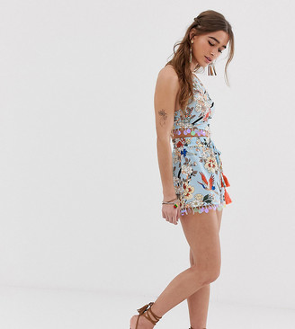 Sisters Of The Tribe high waisted shorts with sequin hem in floral two-piece