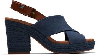 Toms Majolica Blue Vintage Canvas Veg Tan Leather Women's Ibiza Sandals