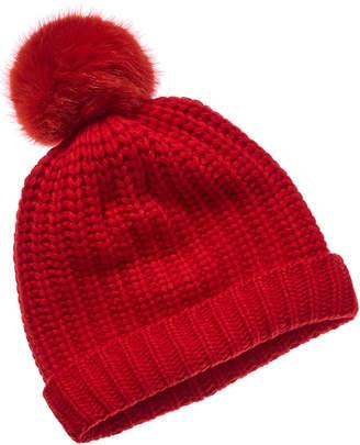 Portolano Wool-Blend Hat With Faux Fur Pom