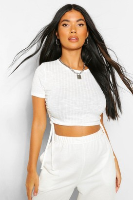 boohoo Petite Soft Knit Rib Ruched Side Top