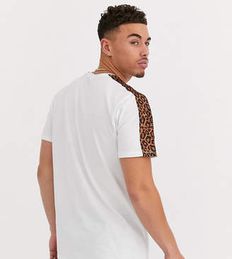 ONLY & SONS leopard print sleeve stripe t-shirt in white