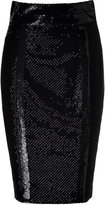 L'Wren Scott Black Silk Mesh Embroidered Pencil Skirt