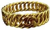 Chanel Gold-Tone Metal Coco Mark CC Logo Bangle Bracelet