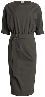 Brunello Cucinelli Belted Cuffed Stretch-Wool Midi Dress