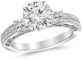 Houston Diamond District 1 Carat t.w. 14K White Gold Round Three 3 Stone Princess Cut Channel Set Diamond Engagement Ring VS1-VS2