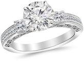 Houston Diamond District 1 Carat t.w. Platinum Round Three 3 Stone Princess Cut Channel Set Diamond Engagement Ring VS1-VS2