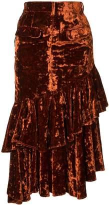 Facetasm denim and velvet midi skirt