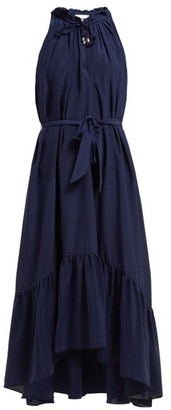 Heidi Klein Frill Silk Midi Dress - Womens - Navy