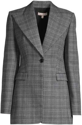 Michael Kors Tuxedo Plaid Wool Blazer