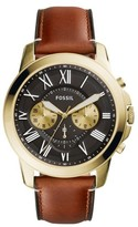 Fossil Grant Leather Strap Watch, 44Mm