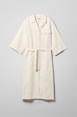 Weekday Bay Denim Shirt Dress - White