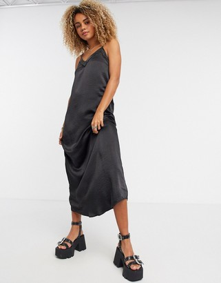 Vila lace insert maxi dress in black