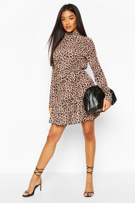 boohoo Leopard Print High Neck Skater Dress