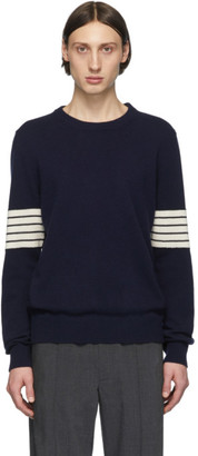 Maison Margiela Navy Rib Sleeves Sweater
