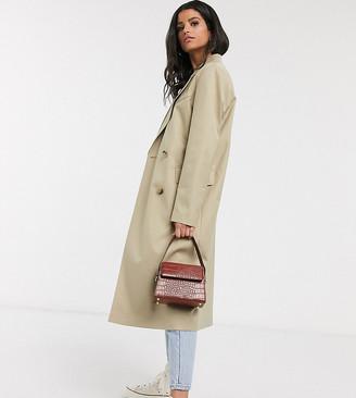Asos DESIGN Tall classic crepe coat in stone