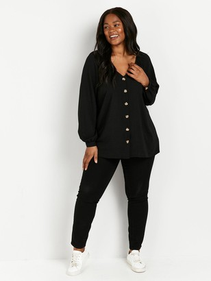 Evans Sweetheart Neck Top - Black