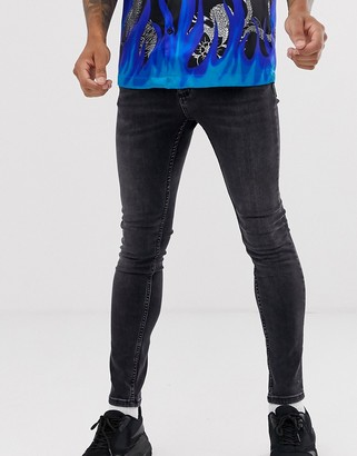 Topman spray on jeans in washed black