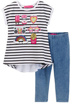 Betsey Johnson Striped Chiffon Back Top & Knit Denim Legging Set (Toddler Girls)