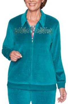 Alfred Dunner Petite Bright Idea Beaded Velour Jacket
