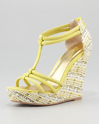 Seychelles Gasp Woven-Wedge Sandal, Yellow
