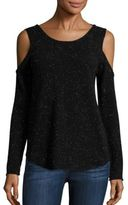 Generation Love Annie Cold Shoulder Cross Hatch Back Cashmere Top