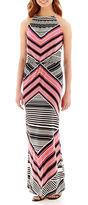 Studio 1 Sleeveless Knit Chevron Print Halter Maxi Dress