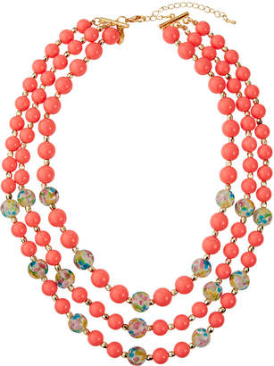 Emily and Ashley Greenbeads By Three-Strand Coral Floral Bead Necklace, Coral
