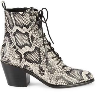 Diane von Furstenberg Dakota Snake-Print Leather Lace-Up Booties