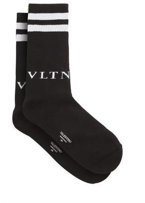 Valentino Intarsia-logo Cotton-blend Socks - Mens - Black White