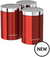 Morphy Richards Accents Set Of 3 Storage Canisters – Red
