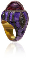 Sevan Biçakci Ottoman Architecture-Inspired Gold Ring with Black Diamonds and Amethyst