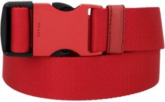 Prada Logo Engraved Claps Webbed Belt