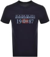 Napapijri Short Sleeved Solin Logo T Shirt Blue