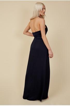 Little Mistress Bridesmaid Rafaela Navy Satin Halterneck Maxi Dress