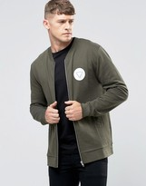 Asos Jersey Bomber Jacket With Chest Print In Khaki