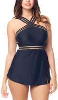 Sea And Sand Sea and Sand Women's One Piece Swimsuits - Black Cross-Front Swim Dress - Women