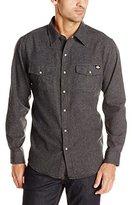Dickies Men's Long Sleeve Brushed Flannel Solid Western Shirt