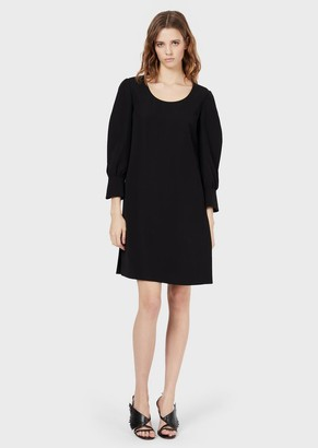 Emporio Armani Dress In Tech Cady With Split Sleeves