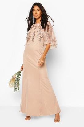 boohoo Bridesmaid Hand Embellished Cape Maxi Dress