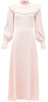 The Vampire's Wife The Firefly Gathered Puckered Silk-satin Dress - Light Pink