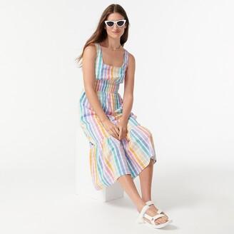 J.Crew Square-neck dress in rainbow gingham