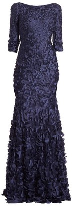 Theia Petal Boat-Neck Gown
