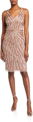 Aidan Mattox Beaded V-Neck Sleeveless Dress