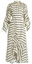 Preen by Thornton Bregazzi Hope ruched striped-silk dress