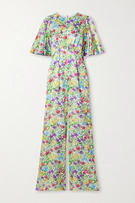Les Rêveries Floral-print Silk-satin Jumpsuit - Green