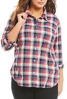 Levi's s Plus Work Wear Boyfriend Plaid Shirt