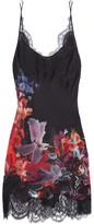 Carine Gilson Lace-trimmed Floral-print Silk-satin Chemise - Burgundy