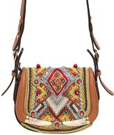 Roberto Cavalli Small Embroidered Leather Bag W/ Horns