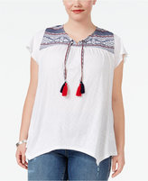 Style&Co. Style & Co Plus Size Embroidered Peasant Top, Created for Macy's