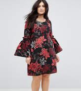 Junarose Floral Printed Dress With Fluted Sleeves